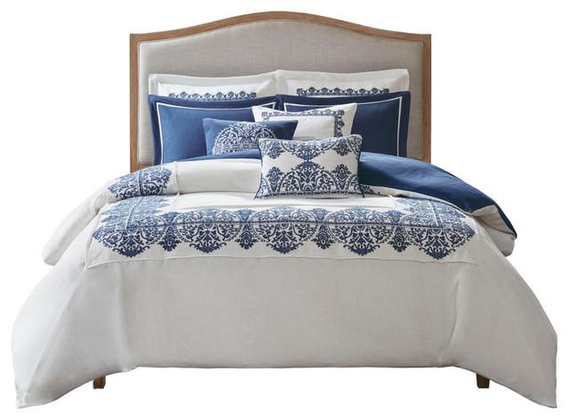 Madison Park Indigo Sky Faux Linen, Bedding Oversized Comforter Sets