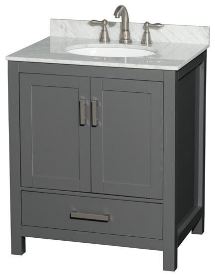 Sheffield 30 Dark Gray Single Vanity White Carrara Marble Round Sink