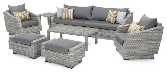 Cannes 8-Piece Sofa and Club Chair Seating Set, Charcoal Gray