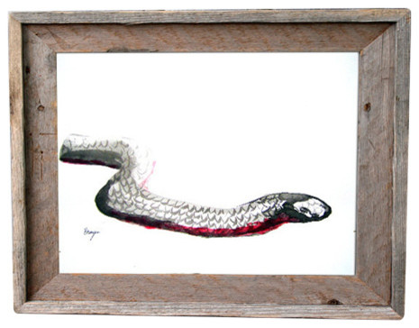 "Year of the Snake Painting, Red Bellied Black Snake, Canvas 5""x7"""