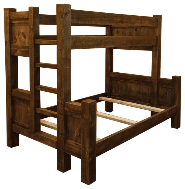 Rustic Barn Wood Style Timber Peg Twin Over Full Bunk Bed.