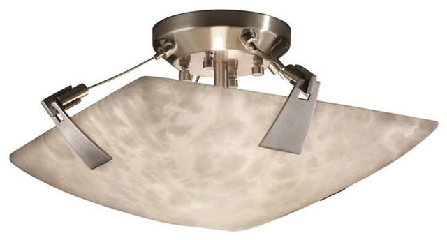"""Clouds Tapered Clips 14"""" Semi-Flush Bowl, Square Bowl, Brushed Nickel"""