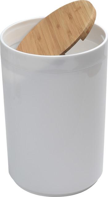 Round Bathroom Floor Trash Can Padang Waste Bin Bamboo Top