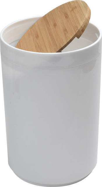 Round Bathroom Floor Trash Can Padang Waste Bin Bamboo Top Swing Lid