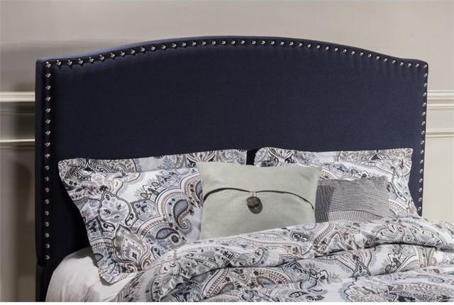 Hillsdale Kerstein Upholstered Panel Headboard With Frame, Navy Linen, Queen.