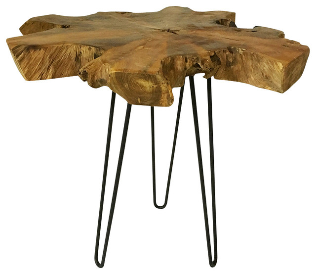 Merveilleux Teak Root Slab Coffee Table With Hairpin Legs, Rustic Side Table