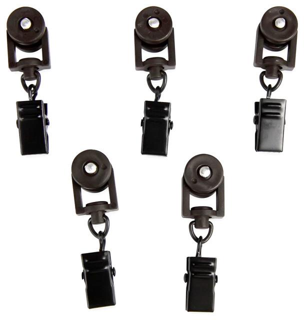 Rod Desyne Home Decorative 10 Sliders For Ch Track Traverse Rods, Black.