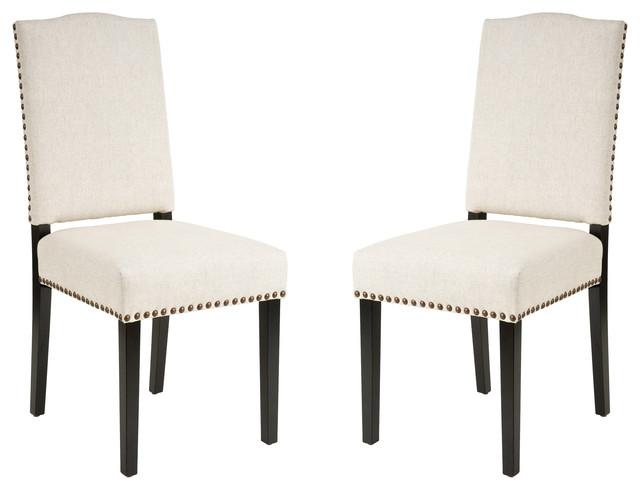 Stuart Beige Fabric Dining Chairs Set Of 2