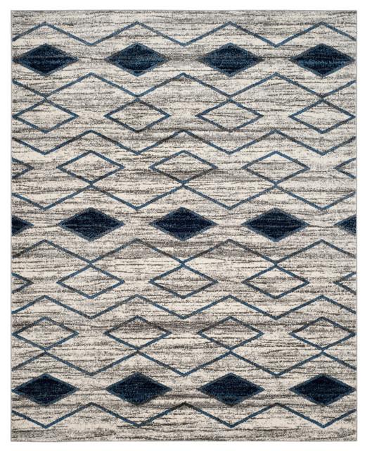 Safavieh Tunisia Woven Rug, Light Gray/blue, 8&x27;x10&x27;.