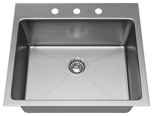 MR Direct T1823 Topmount Single Bowl 3/4-Inch Radius Kitchen Sink, Sink Only