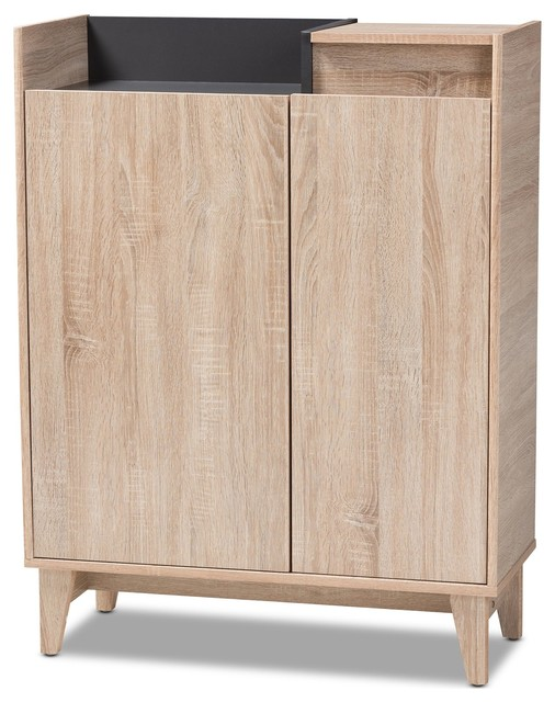 Baxton Studio Fella Entryway Shoe Cabinet With Lift Top Storage Compartment