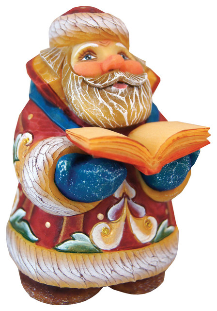 Hand Painted Mini Scholar Santa Figurine.