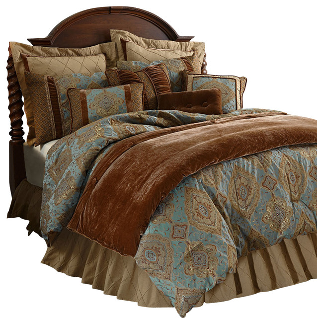 Damask Sky Blue Comforter Set Traditional Comforters