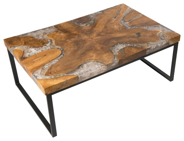 cracked resin coffee table - coffee tables -aire furniture