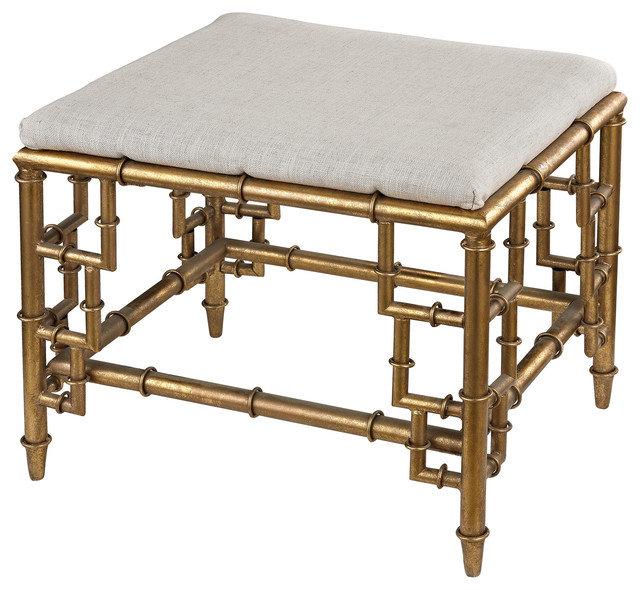 Sterling 114-60 Stool With Bamboo Frame, Gold Leaf and Linen Seat ...