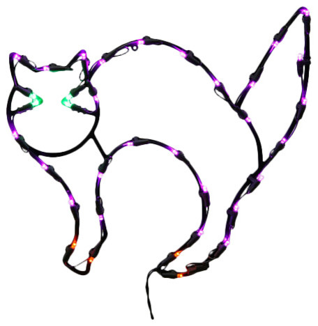 "35 Light Led Cat Window Decor 16x14"", Black."