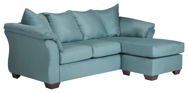 Mfo Comfort Sofa Chaise In Sky Microfiber.