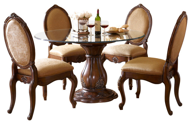 Melange 5 Piece Round Glass Top Dining Table Set Dining Sets Houzz