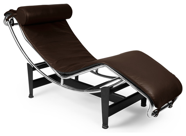 Gravity Aniline Leather Chaise Lounge, Choco Brown.