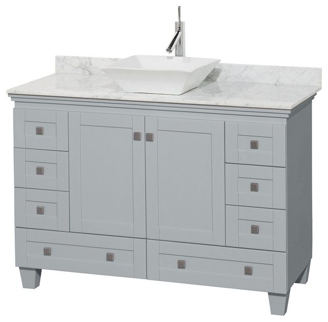 Acclaim 48 Single Vanity, Oyster Gray, Carrera Marble Top, Pyra White Sink.