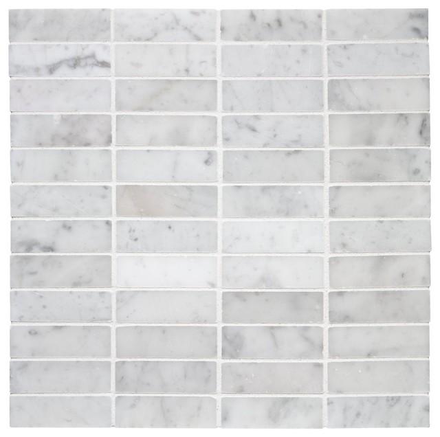 Stacked Carrara Marble Mosaic