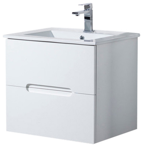 Elton Wall Mount Bathroom Vanity With Porcelain Sink Top Matte White 24
