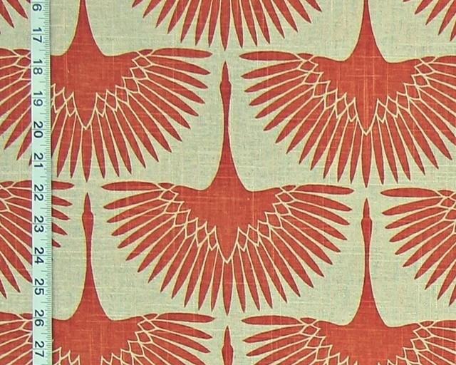 Art Deco Fabric Egyptian Bird Lotus Linen Orange Egret Goose Standard Cut