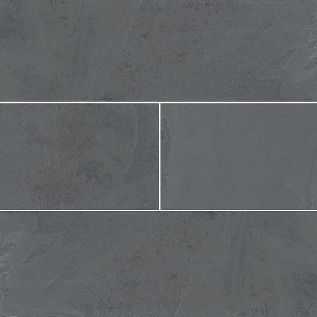 Decorative Montauk Black 4x12x.32 Gauged, Gauged, Slate, by DaVinci Design Group