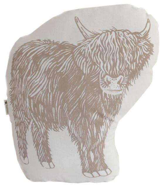 """cow"" Organic Cotton Throw Pillow, 15""x18"", Mocha Brown."