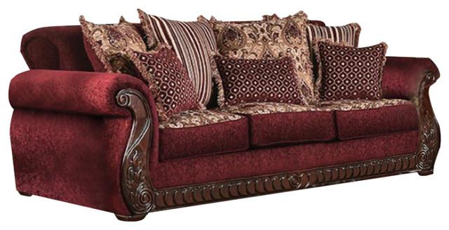 Tabitha Traditional Style Fabric Leatherette Sofa