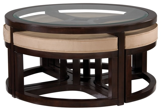 juniper glass coffee table w/ ottomans