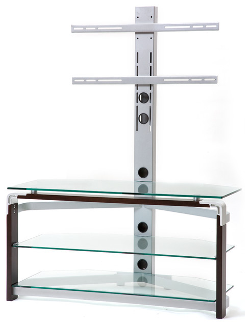 Tempered Glass Tv Stand Clear Silver Walnut Modern