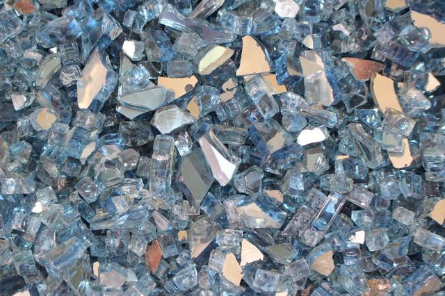 "Fireglass, Sky Blue Reflective Glass, 1/2""."