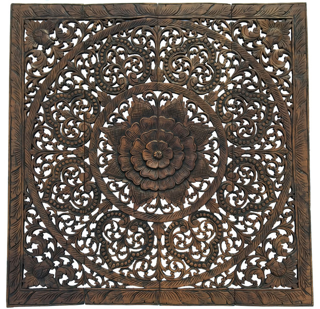 Elegant Wood Carved Floral Bali Art Wall Panel 48quot Set  : traditional wall panels from www.houzz.com size 640 x 618 jpeg 243kB