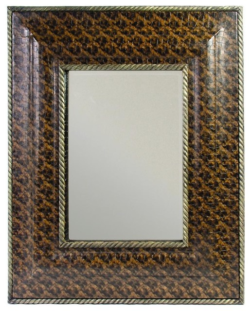Beveled Wall Mirror W Faux Leather Frame In Brown Contemporary Mirrors By Ladder