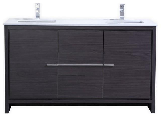 """Grace Double Sink Bathroom Vanity With Quartz Countertop, Gray Oak, 60""""."""