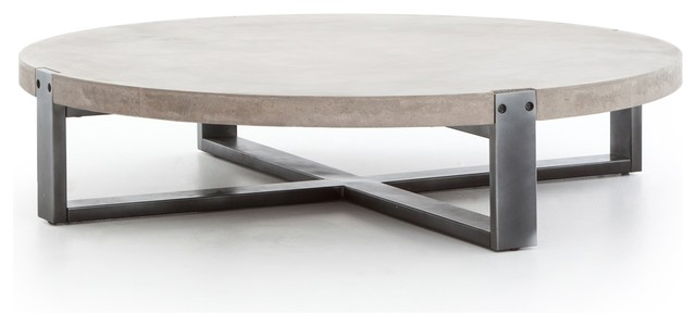55 W Olivia Coffee Table Solid Industrial Grey Concrete Dark Iron