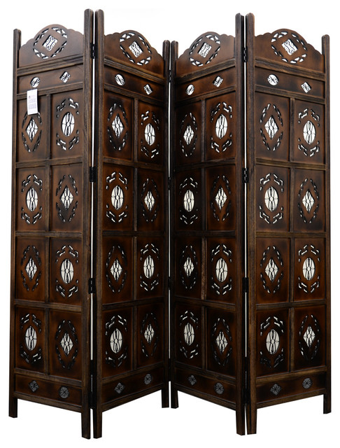 benzara kashmiri wood room divider 4 panel carved screen
