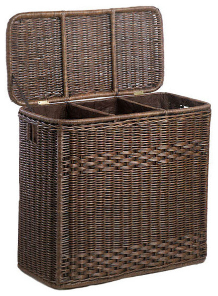 3-Compartment Wicker Laundry Hamper, Antique Walnut Brown.