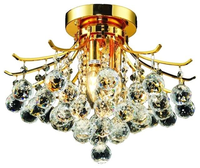 "Toureg 3-Light Flush Mount, Royal Cut Clear Crystal, 16""."