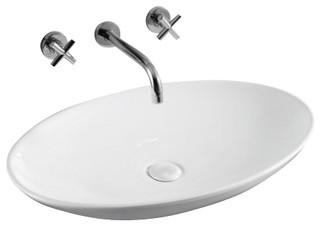 oval white ceramic vessel bathroom sink no hole contemporary bathroom sinks by thebathoutlet. Black Bedroom Furniture Sets. Home Design Ideas