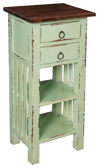 Cottage End Table With-Drawers And Shelves.