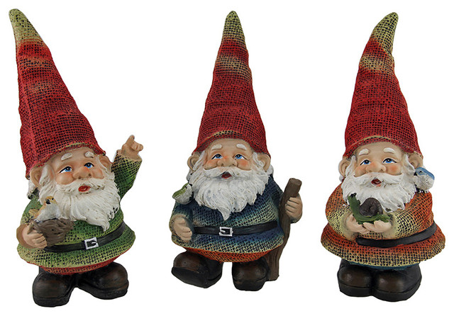 Shop Houzz Zeckos Fabric Finish Colorful Garden Gnome Statues