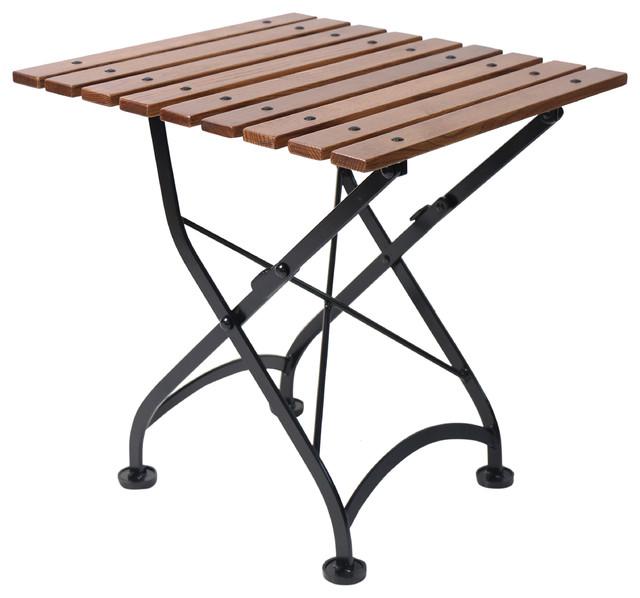 French Cafe Bistro Folding Coffee Table, Black Frame, Chestnut Wood Slat Top