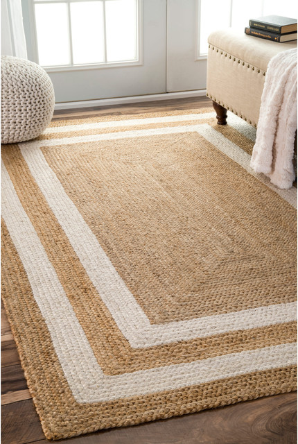 Jute Double Border Area Rug, Natural, 5'x8'