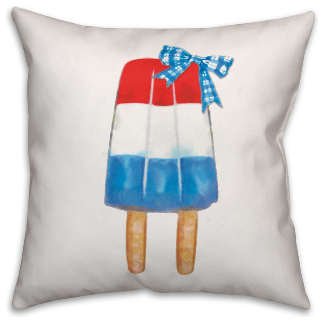 Red, White and Blue Popsicle with Plaid Bow 18x18 Outdoor Pillow