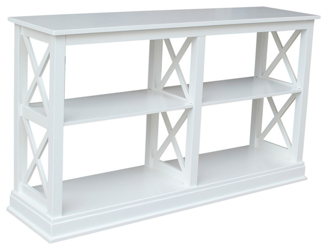 Delightful Hampton Sofa Table With Shelves, White Transitional Console Tables