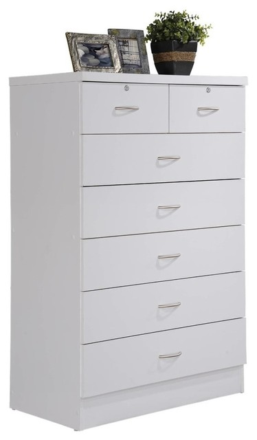 7-Drawer Chest With Locks On 2-Top Drawers, White.