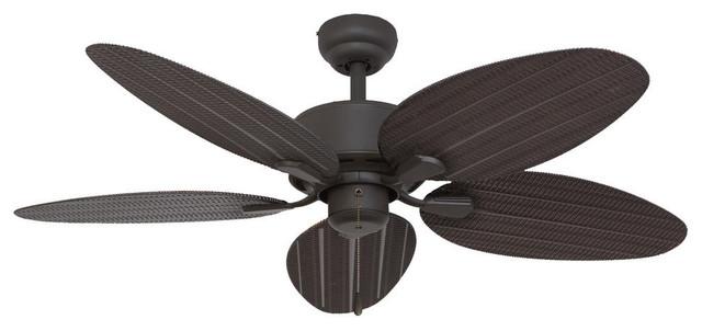 """52"""" Villa Lago Bronze Indoor Ceiling Fan With Remote Control."""