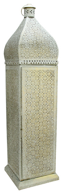 Distressed White And Gold Moroccan Cut Out Lantern Floor Lamp Mediterranean  Floor Lamps